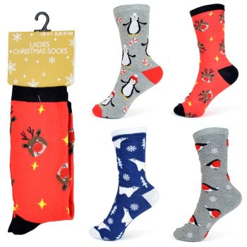 SK254B, Ladies Xmas Design Socks £6.75 a dozen.  2 dozen....