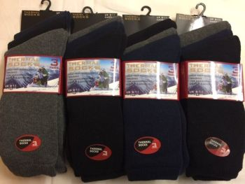 BB101, Mens dark assorted thermal socks £4.50 a dozen.  10 dozen..