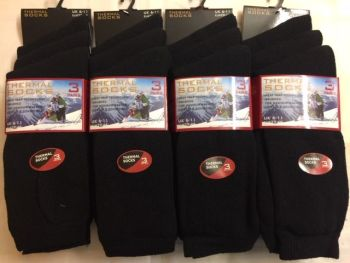 *BB100, Mens black thermal socks.  1 dozen..