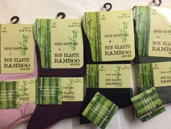 SE047, Ladies Bamboo Non Elastic Socks- Assorted.  1 dozen...