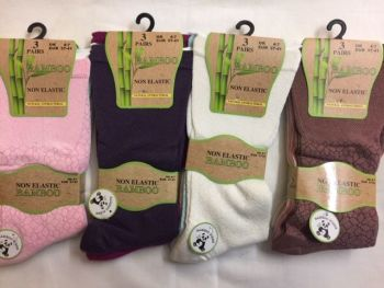 SE047D, Ladies Bamboo 3pk Non Elastic Design Socks- Assorted.  1 dozen...
