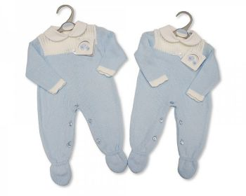BW1070, Long Knitted Baby Boys Romper with Bow £10.40.  PK6..