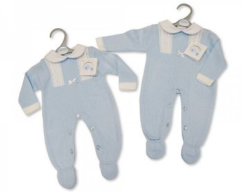 BW1067, Long Knitted Baby Boys Romper with Bow £10.40.  PK6...