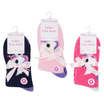 41B518, Ladies Cosy Socks With Gripper- Unicorn .  1 dozen...