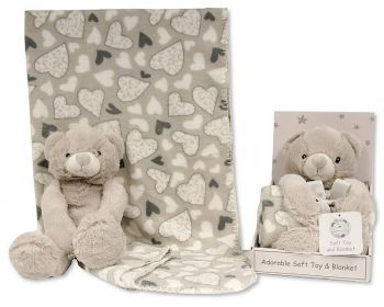 GP1052, Teddy Bear with Coral Fleece Heart Blanket £6.95.  PK6..