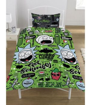 """*V0952, Official """"Rick and Morty""""""""Get Schwifty"""" Reversible Single Duvet Cover Set £10.95. pk3...."""