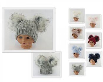 BW332-Lg, Baby Hat with Double Pom-Pom £6.60.  PK6...