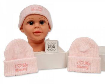 BW445, Baby Girls Knitted Hat - I Love Mummy £2.10.  PK6...