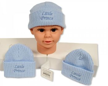 BW442, Baby Boys Knitted Hat - Little Prince £2.10.  PK6...