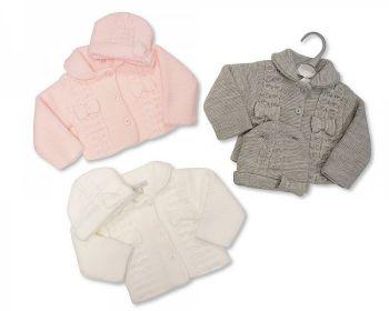 *BW640, Knitted Baby Girls Pram Coat with Hat £10.95.  PK6..
