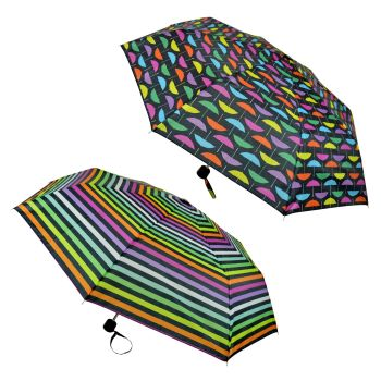 UU0363,  Rainbow Print Supermini Umbrella £1.95.  pk12...