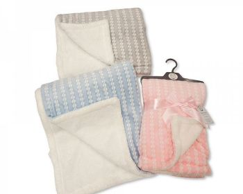 BW1046, Baby Wrap with Zig-Zag Print and Sherpa Back - Double Layer £4.95.  PK2...