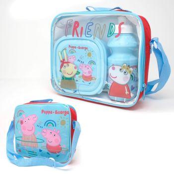 "*Code:9434, Official ""Peppa Pig"" 3 pcs lunch bag set £3.85. pk12..."