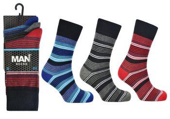 Code:2489, Mens fashion stripe design socks £3.95 a dozen.  10 dozen (120 pairs)....