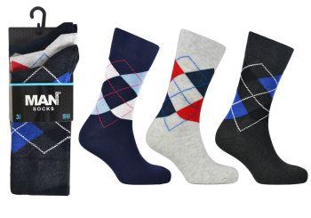Code:2492, Mens argyle design socks £3.95 a dozen.  10 dozen (120 pairs)....