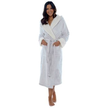 *LN605B, Ladies Supersoft Fleece Gown with Sherpa Lined Hood & Cuffs £11.50.  pk12...