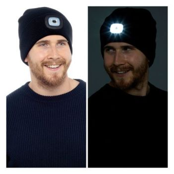 GL621, Adults Black LED Beanie Hat £2.75.  pk24...