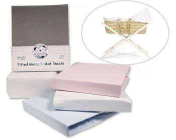 BW230/1, Moses Basket Cotton Sheets - Fitted - 2 in a Pack £3.95.  2pks....