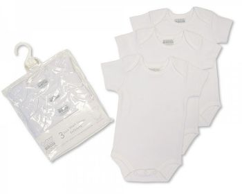 GP859, White Short Sleeved Cotton Bodysuits - 3 in a Pack £3.75.  4pks...