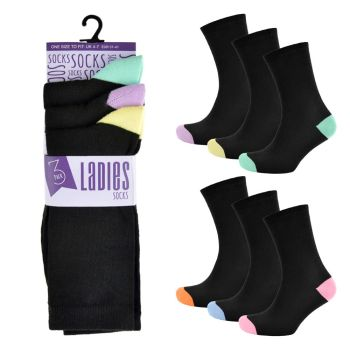 SK242CTN, Ladies Heel & Toe Design Socks £3.00 a dozen.  36 dozen....