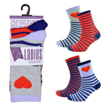 SK489, Ladies 2pk Design Socks £0.65.    72pks.......