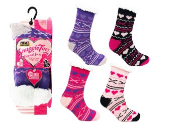 "Code:2108, ""Heat Machine"" Ladies Hearts & Crosses Design Socks £2.00.  pk12..."