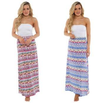 LN418, Ladies jersey printed maxi skirt £3.50.  pk28...