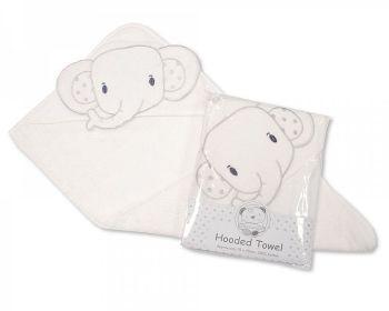 BW002, Baby Hooded Towel - Elephant - White £3.80.  PK2..