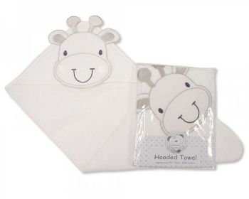 BW001W, Baby Hooded Towel - Giraffe - White £3.80.  PK2...