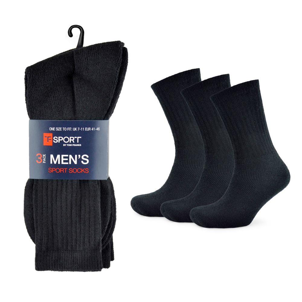 SK103, Mens plain black sport socks.  1 dozen........