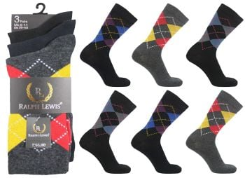RL5030, Mens design socks £3.75 per dozen, 10 dozen....