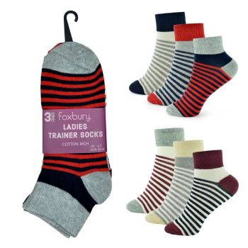 SK513, Ladies Stripe Design Trainer Socks £2.90 a dozen.  10 dozen.....