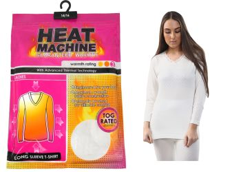 "Code:2706, ""Heat Machine"" Brand Ladies Long Sleeve Thermal Vest £2.55.   pk10..."