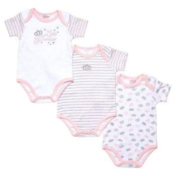JTC8524SG, 3 Pack Girls Short Sleeve Body Vest - Little Princess £4.10.  18pks...