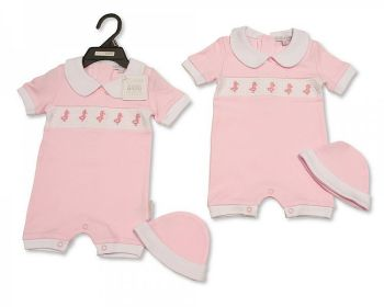 BIS2299, Baby Girls Romper with Hat - Quack, Quack £4.40.  PK6...