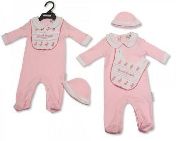 BIS2297, Baby Girls 3 Pieces Set - Quack, Quack (Sleepsuit with Collar, Bib, Hat) £5.40.  PK6...