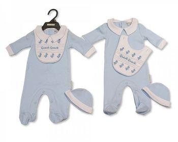 BIS2296, Baby Boys 3 Pieces Set - Quack, Quack (Sleepsuit with Collar, Bib, Hat) £5.40.  PK6...