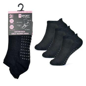 SK716, Girls 3 Pack Trainer Socks With Gripper - Black £1.20.   12pks...