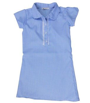 *CSH0152B, Ex M-S Girls Blue Gingham School Dress £2.50.  PK24..