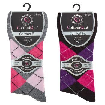 41B586, Ladies Non Elastic Argyle Design Socks £7.00 a dozen.   18 dozen...