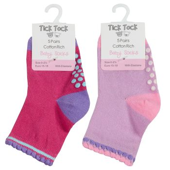 44B783, Baby Girls 5pk Socks With Gripper £2.10.   96pks...