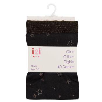 46B524, Girls 2pk Glitter Tights- Black £2.75.  96pks.....