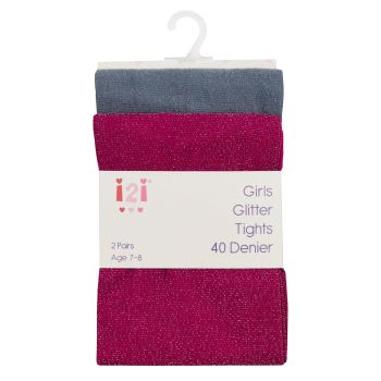 46B525, Girls 2pk Glitter Tights £2.75.  96pks.....