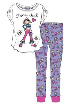 "Code:34085, Official ""Groovy Chick"" Ladies Pyjama £6.20. pk8...."