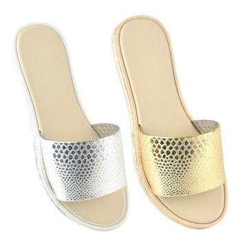 FT1696, Ladies Embossed Snake Print Pool Slide £3.50.   pk36...
