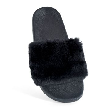 FT1295, Ladies Fur Cuff Pool Slide £3.50.   pk36...