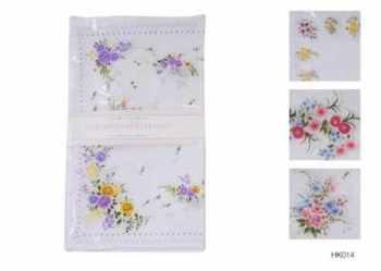 HK014, Ladies 8 in a pack poly/cotton hankies £0.70.   15 pks........