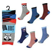 SK809, Boys 3 Pack Stripe/Face Design Socks £1.00.   12pks..