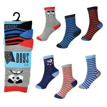 SK809, Boys 3 Pack Stripe/Face Design Socks £0.85.   12pks..