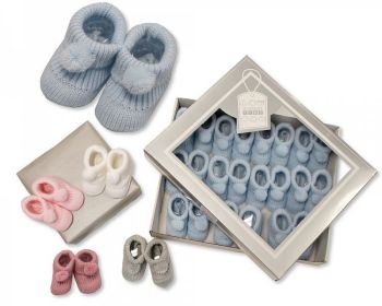 BSS377, Knitted Baby Booties with Pompoms £1.20.  PK12...